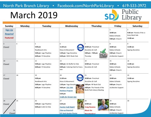 March Events Calendar | The Friends of The North Park Library